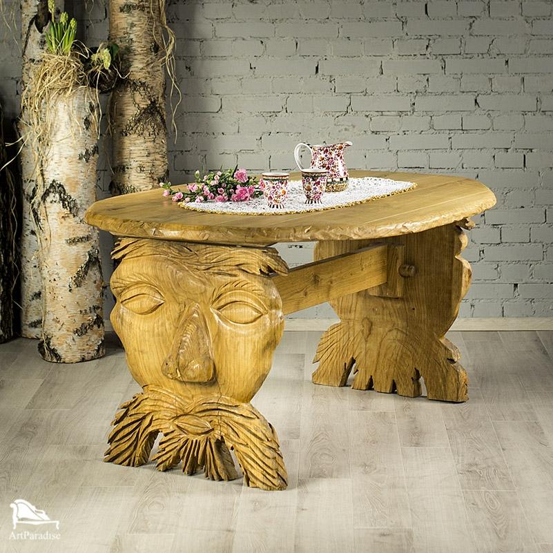 Bardzo dobry Rzeźbiony stół dębowy - Góralski klimat - STOŁY, STOLIKI I ŁAWY DV49